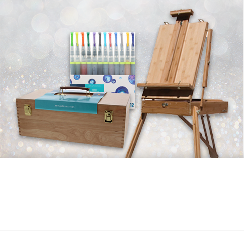 Picture of art supplies. Creative gifting. Click to shop now.