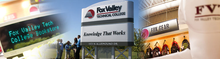 College sign in landscaped area